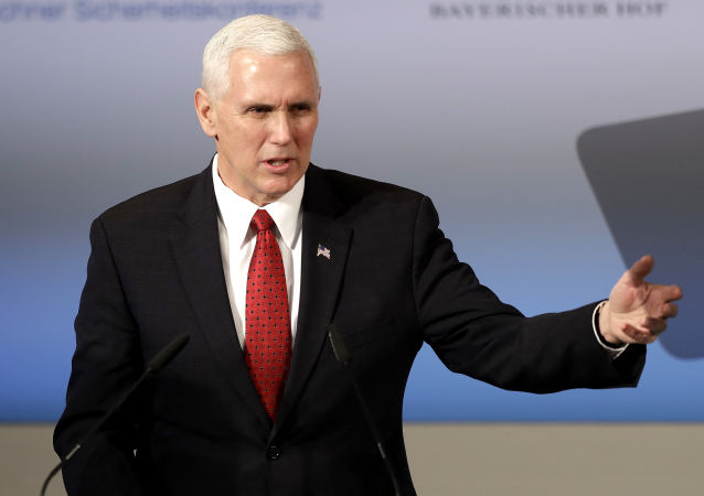 United States Vice President Mike Pence speaks during the Munich Security Conference in Munich, Germany