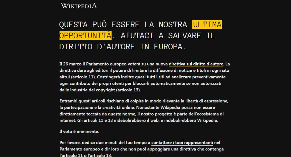 Wikipedia oscurata contro la riforma europea del copyright