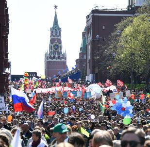 Il corteo del primo maggio a Mosca