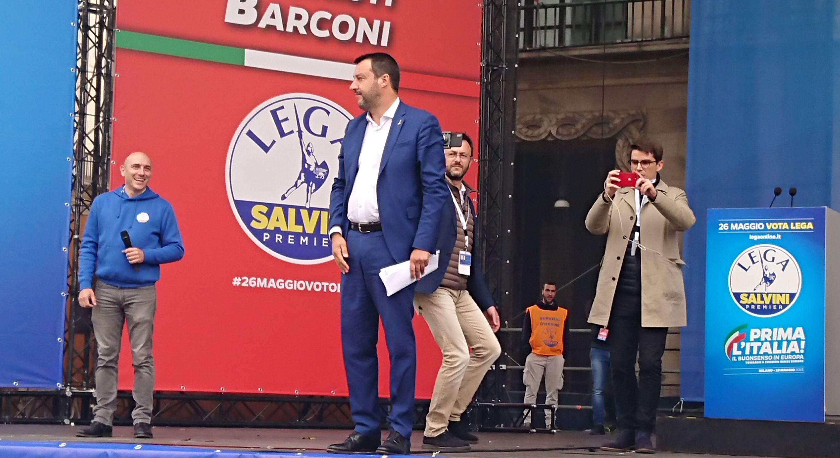 Matteo Salvini al comizio a Milano
