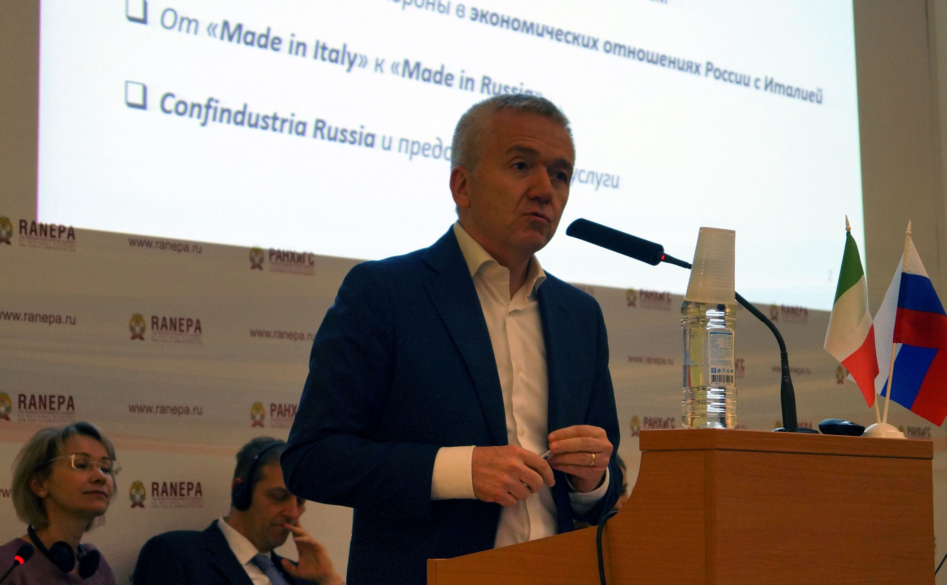 """Ernesto Ferlenghi, presidente di Confindustria Russia, durante il suo intervento alla conferenza Il Segreto del Successo, lo sviluppo dei progetti italiani in Russia"""""""