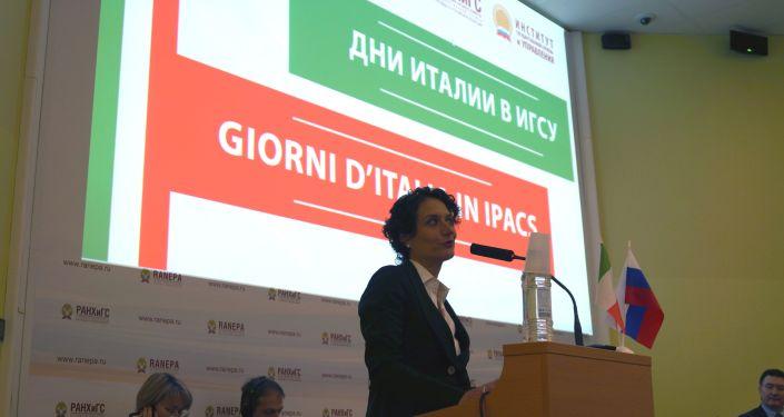 Francesca Santoro, primo Consigliere Commerciale dell'Ambasciata d' Italia a Mosca ha aperto i lavori della conferenza