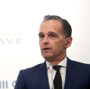 Il ministro degli Esteri Heiko Maas in una conferenza stampa del 18 luglio 2019 in occasione del Forum Russo Tedesco di San Pietroburgo