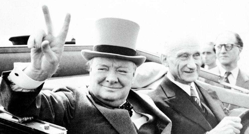 Former British Prime Minister Winston Churchill, gives his world famous V-sign