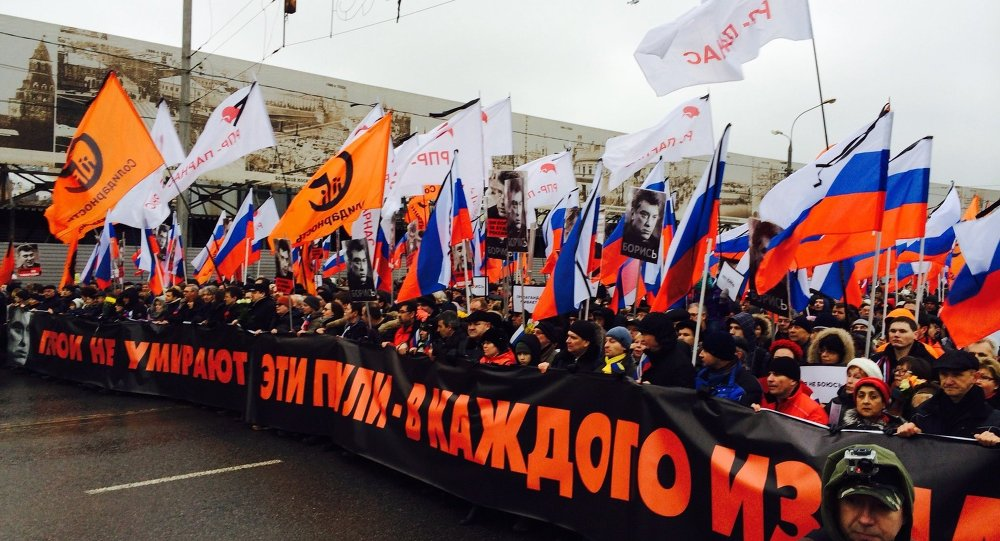 Manifestazione in memoria di Boris Nemtsov a Mosca