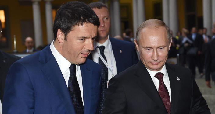 Il Primo ministro italiano Matteo Renzi e il Presidente russo Vladimir Putin