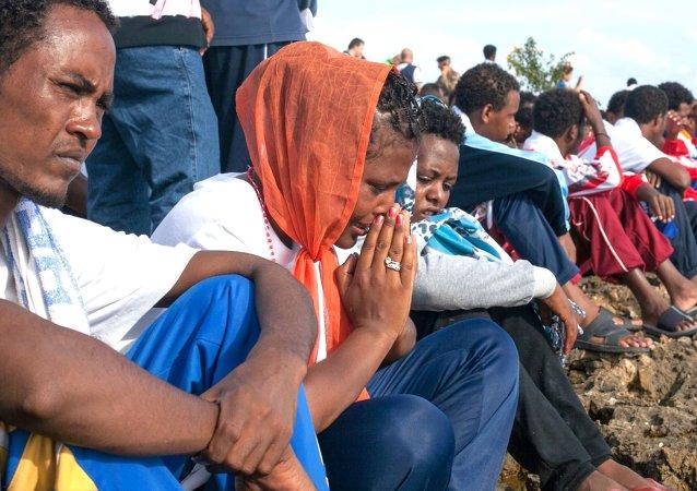 I profughi  arrivati a Lampedusa
