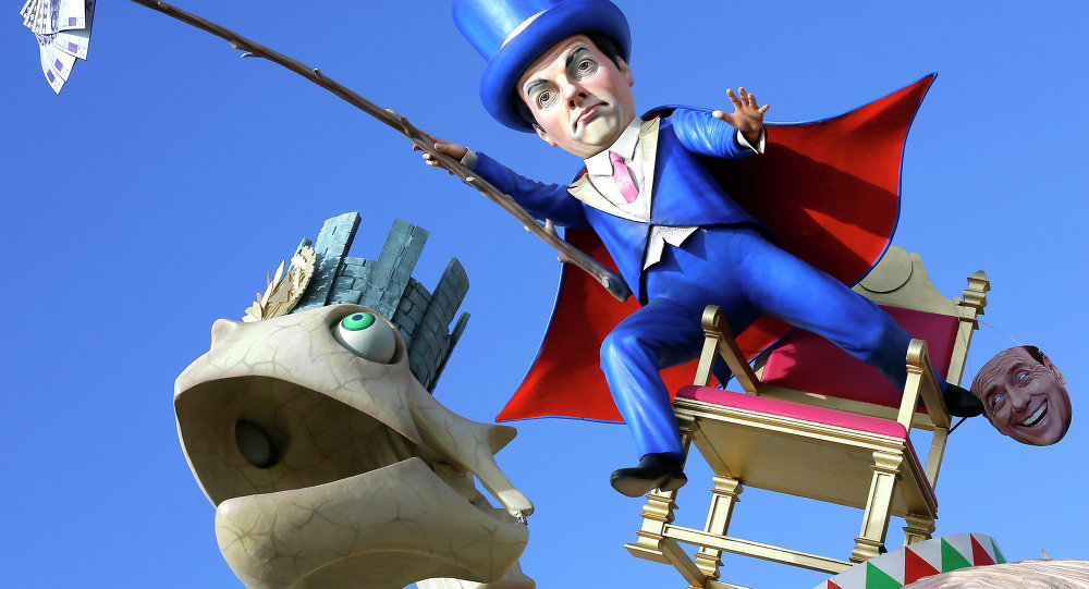 A float depicting Italian Premier Matteo Renzi is shown at the traditional Viareggio Carnival parade in Viareggio, Italy, Sunday, Feb. 1, 2015.