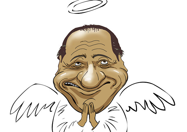 Silvio Berlusconi in una caricatura