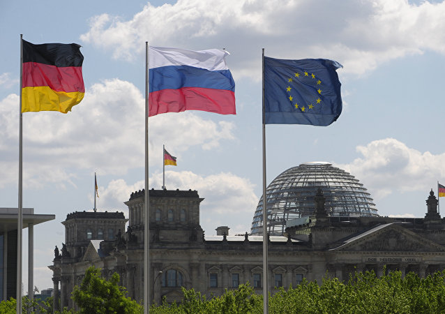 Flags of Germany, Russia and the EU