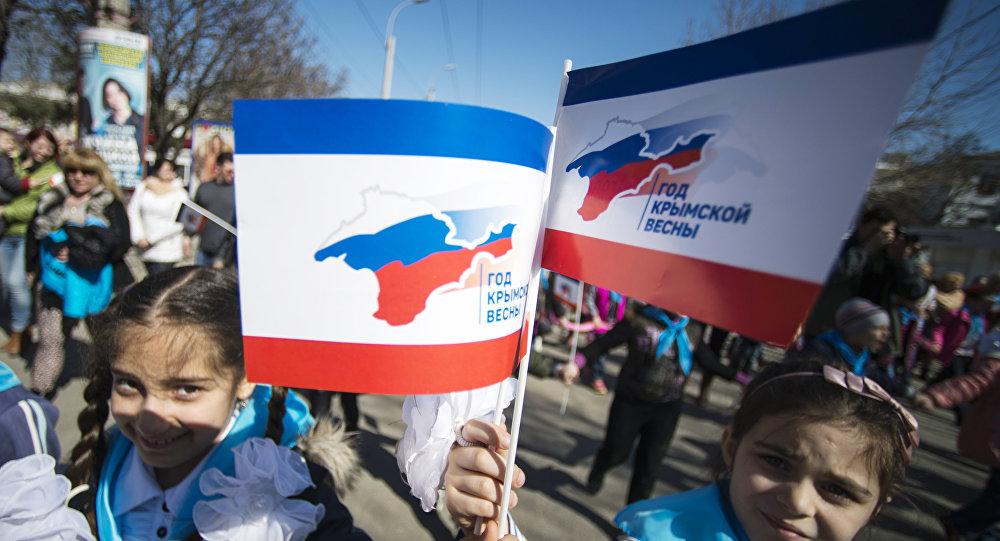 Manifestazione in Crimea in occasione anniversario riunificazione con Russia (foto d'archivio)