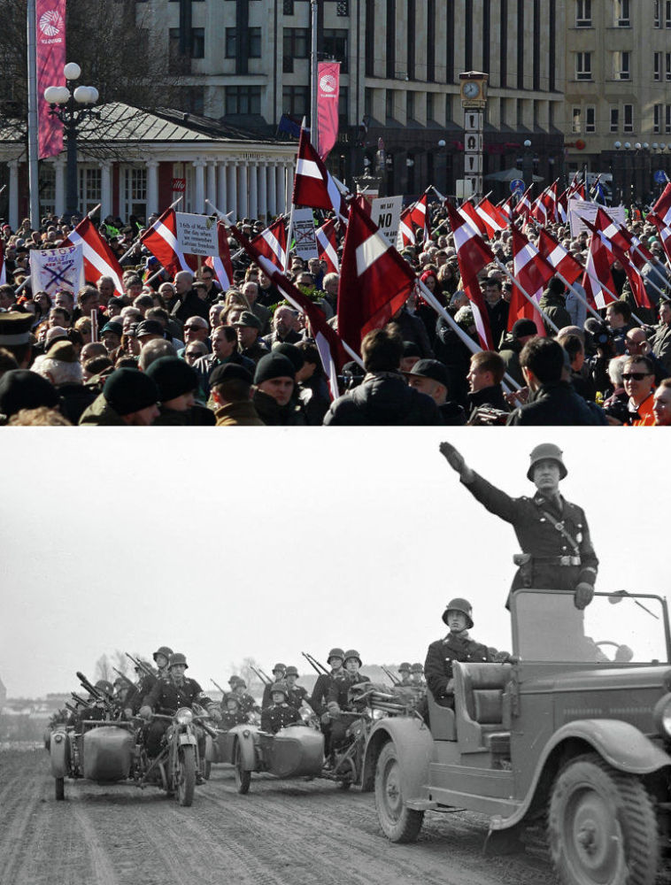 In altro le foto della marcia del 16 marzo 2015 a Riga, in basso le SS ad una marcia nazista nel 1939.