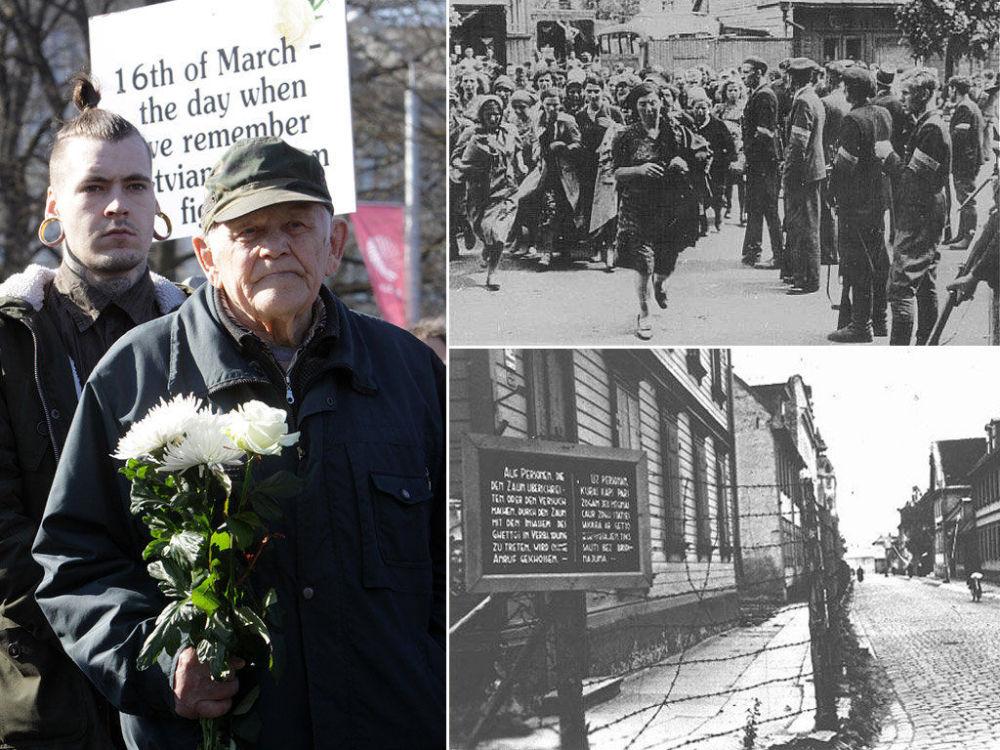 A sinistra la marcia in memoria della divisione lettone Waffen-SS (Schutzstaffel)a destra la pattuglia lettone che ha catturato le donne ebree a Kovno nel 1941, in basso delle insegne nel ghetto di Riga.
