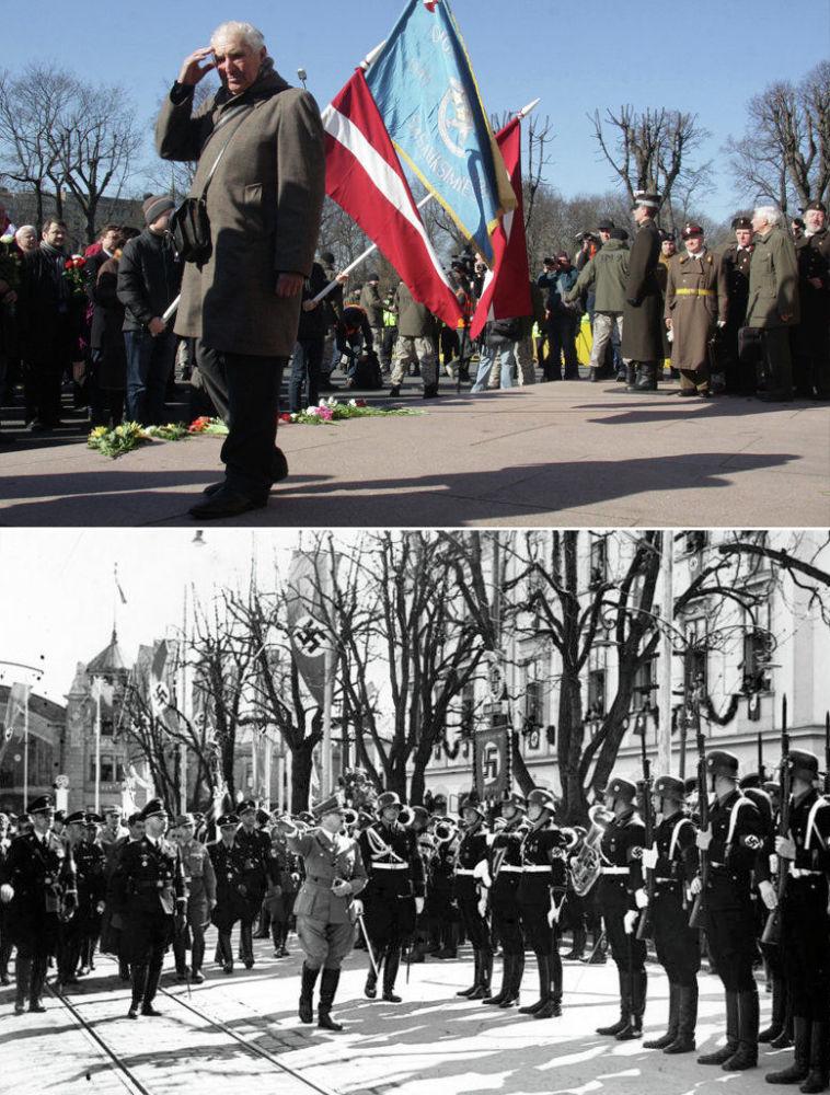 In alto un momento della marcia in memoria della divisione lettone Waffen-SS (Schutzstaffel), in basso Adolf Hitler in visita ai soldati a Klagenfurt il 1° Aprile 1938.