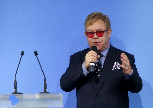British singer Elton John delivers a speech at the 12th Yalta European Strategy Annual Meeting in Kiev, Ukraine, September 12, 2015