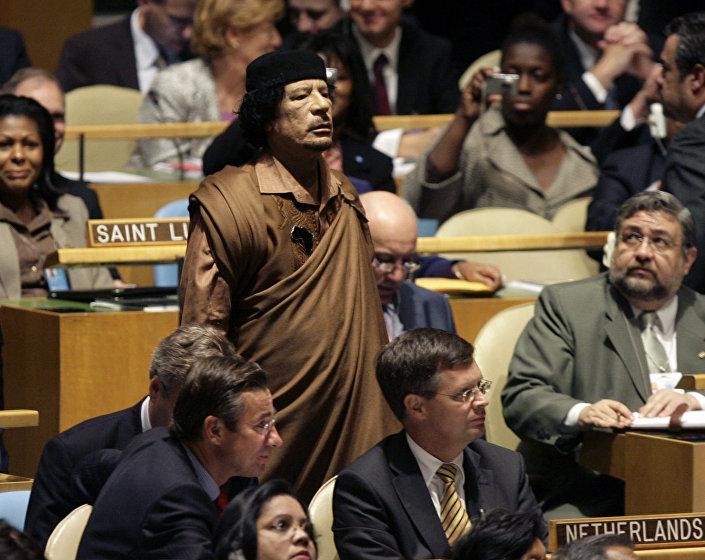 Moammar Gheddafi alla 64° assemblea generale dell'ONU, il 23 settembre 2009