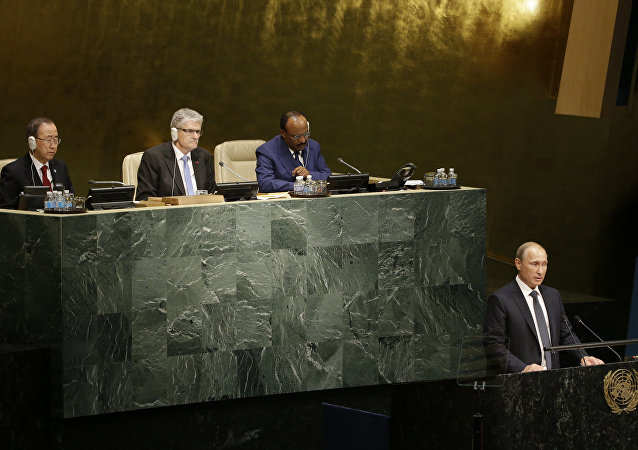 Russian President President Vladimir Putin addresses the 70th session of the United Nations General Assembly at U.N. headquarters, Monday, Sept. 28, 2015