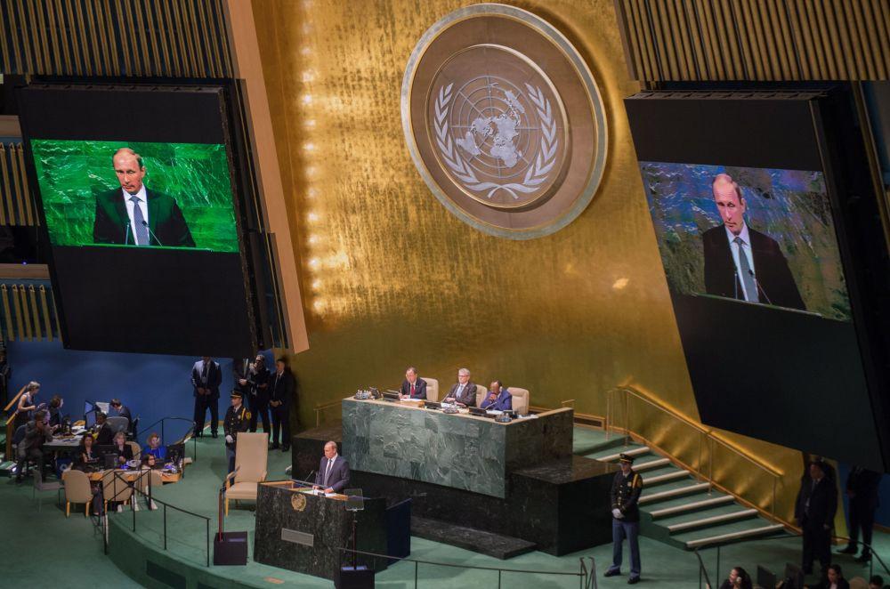 Vladimir Putin all'Assemblea generale dell'ONU.