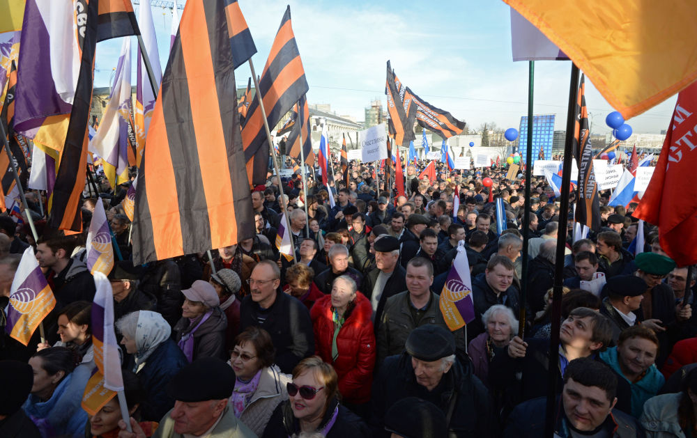 Partecipanti al concerto-comizio dedicato al primo anniversario dell'adesione della Crimea alla Russia.