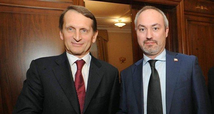 Presidente della Duma Serghei Naryshkin con Gianmatteo Ferrari