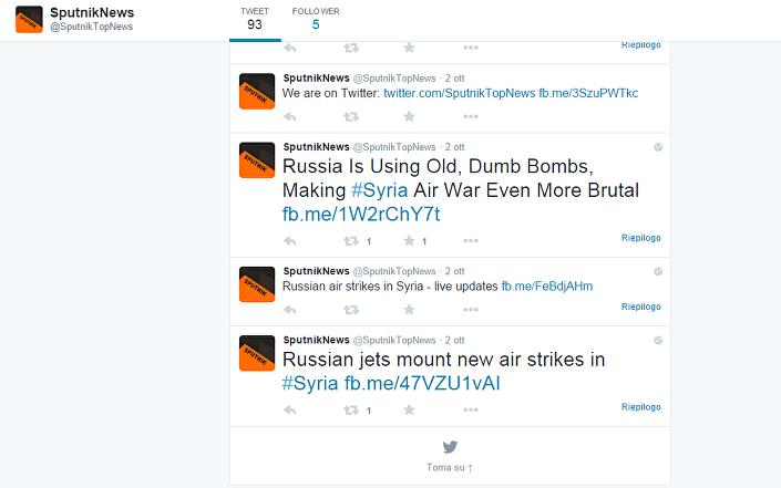 Su twitter il profilo fake di Sputnik news è attivo solo dal 2 ottobre