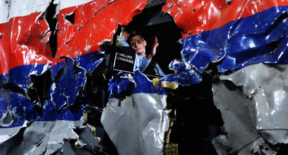 Una parte del Airbus, volo MH17, abbattuto