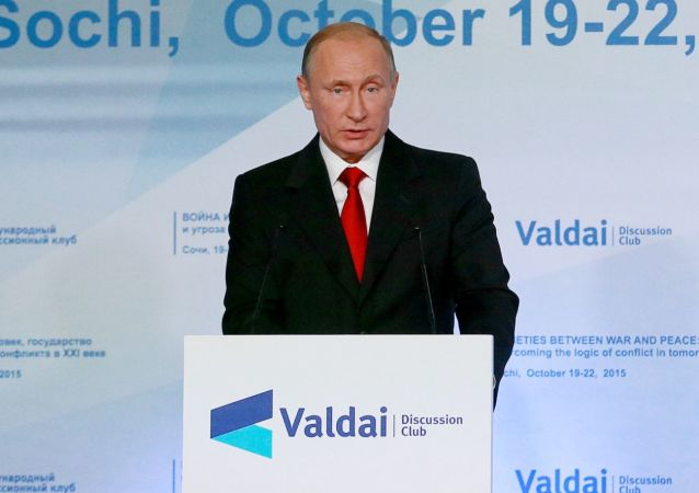 Vladimir Putin durante sessione del Valdai International Discussion Club