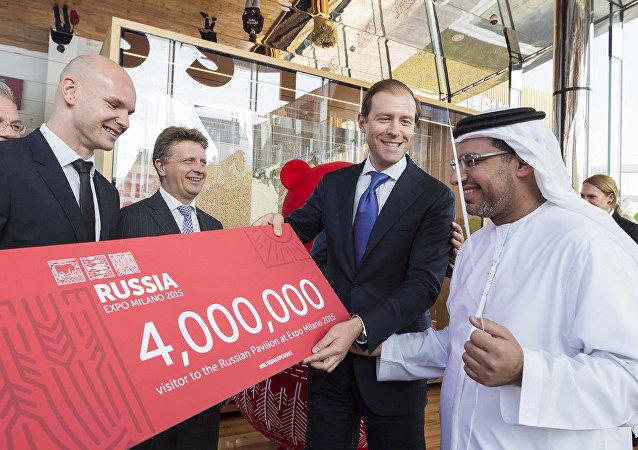 Il visitatore n° 4 000 000 al padiglione russo di EXPO