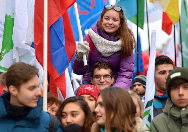I partecipanti della manifestazione Siamo uniti! a Mosca dedicata alla Giornala dell'unità nazionale.