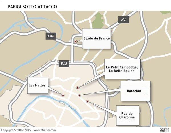 Parigi, mappa dell'attentato multiplo la sera del 13 novembre