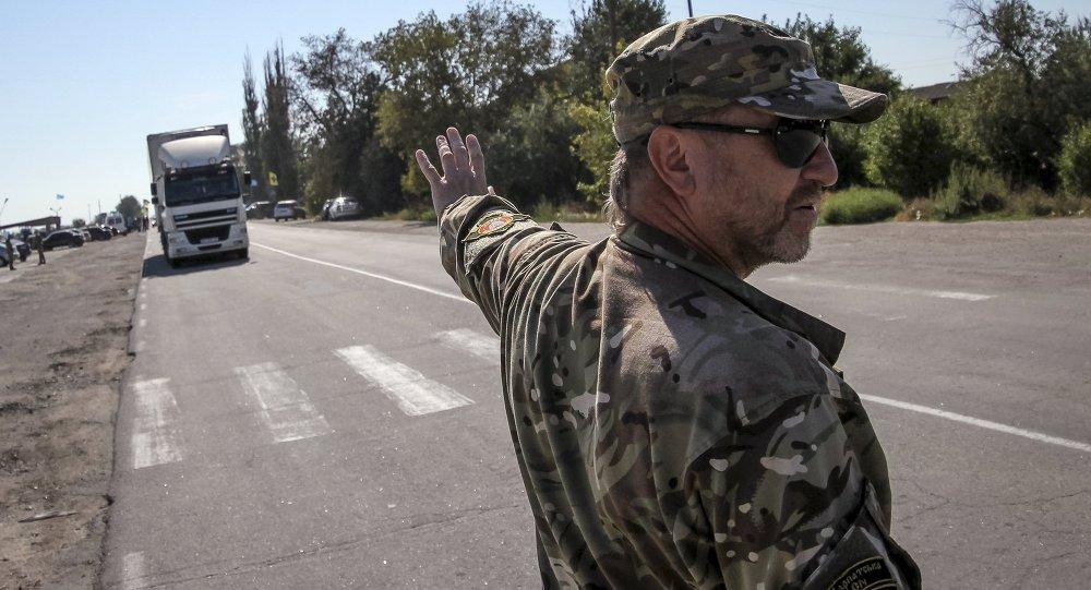 Nazionalista ucraino vicino al confine con la Crimea, regione di Kherson