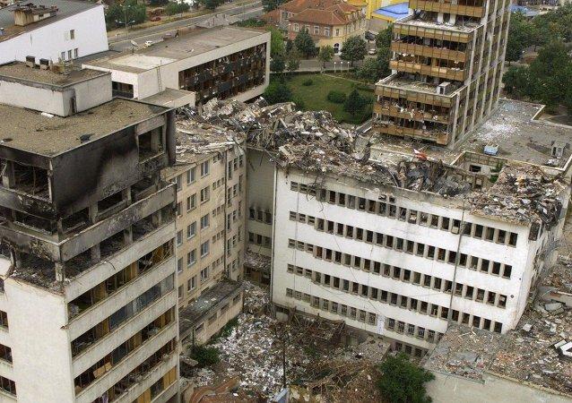 Rovine di Pristina dopo i bombardamenti NATO nel 1999