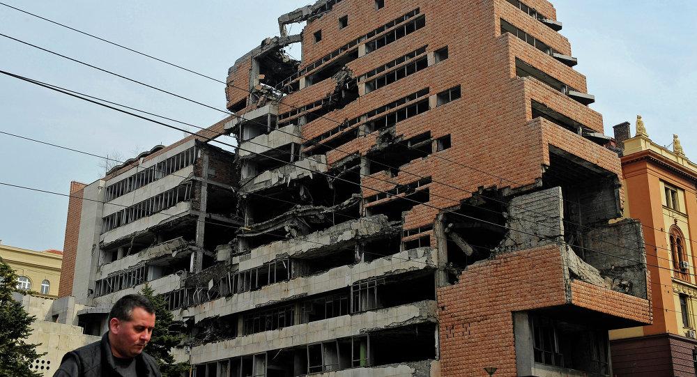 Belgrado, i resti del Quartier Generale militare distrutto nei bombardamenti del 1999