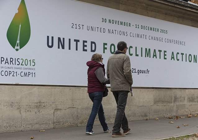 Pedestrians walk in front of posters for the forthcoming COP 21 World Climate Summit in Paris, France, November 2, 2015