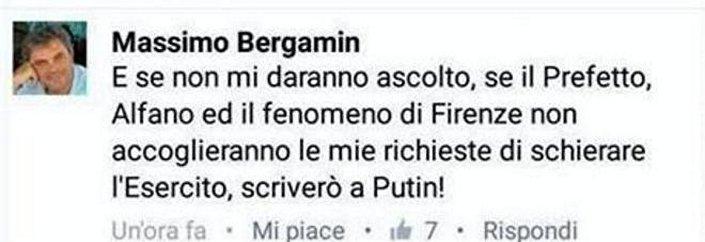 La provocazione di Massimo Bergamin sui Social Network: O l'esercito o chiamo Putin