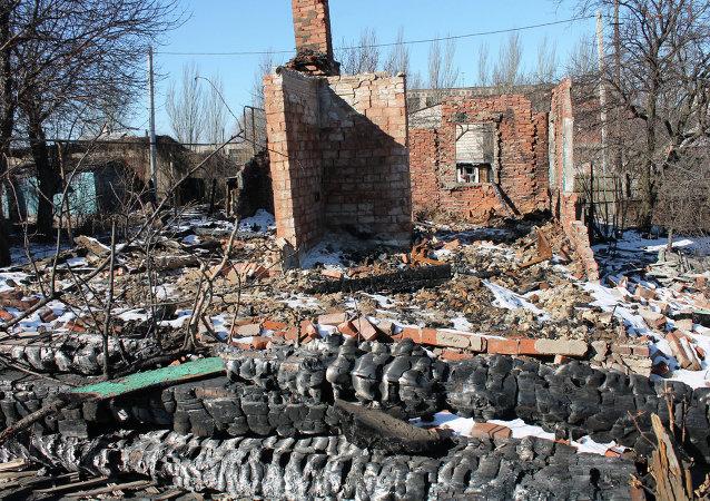Case distrutte a Gorlovka, Donbass