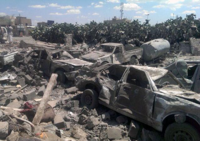 Yemen, danneggiamenti dei bombardamenti sauditi