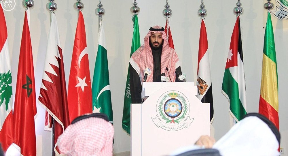 Saudi Deputy Crown Prince and Defence Minister Mohammed bin Salman speaks during a news conference in Riyadh
