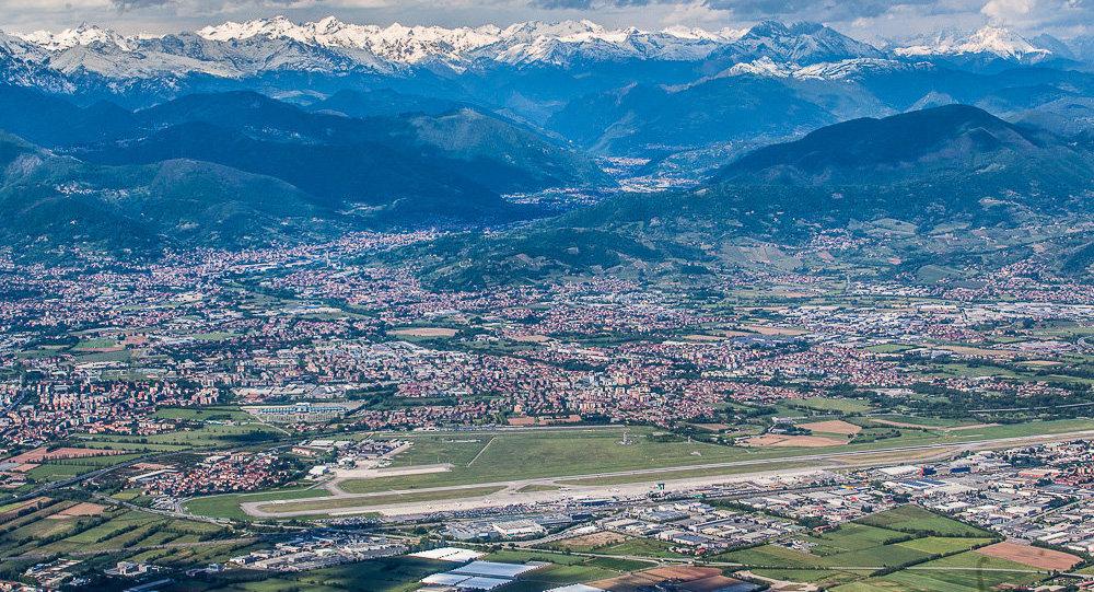 L'aeroporto di Bergamo visto dall'alto