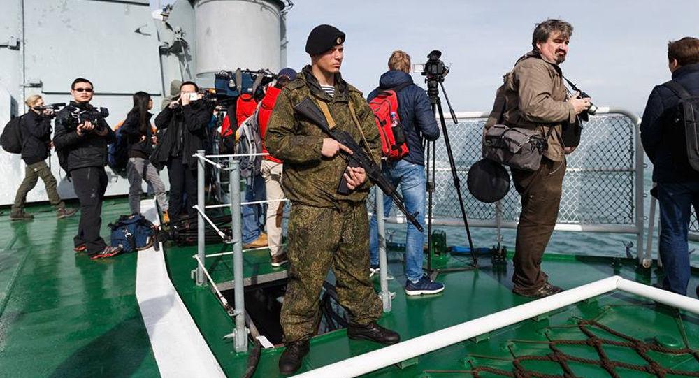 Giornalisti a bordo delle navi della Marina russa nel Mediterraneo