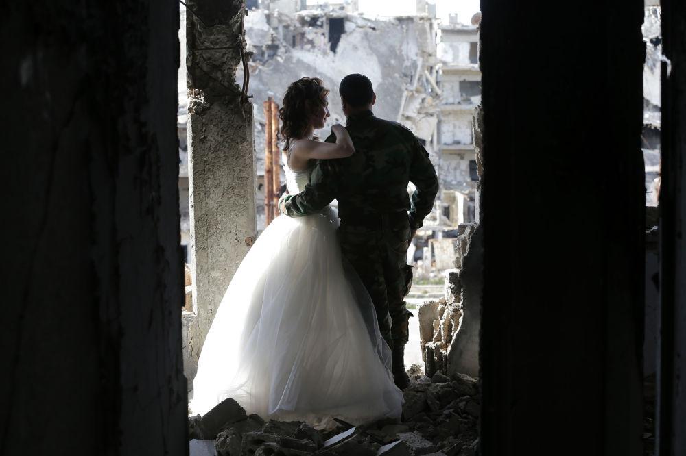Uno shooting fotografico a Homs distrutto, Siria.