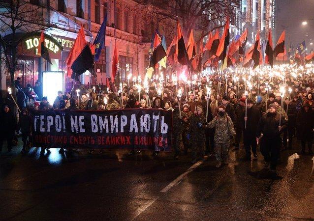 Manifestazione di neonazisti di Pravy Sektor a Kiev (foto d'archivio)