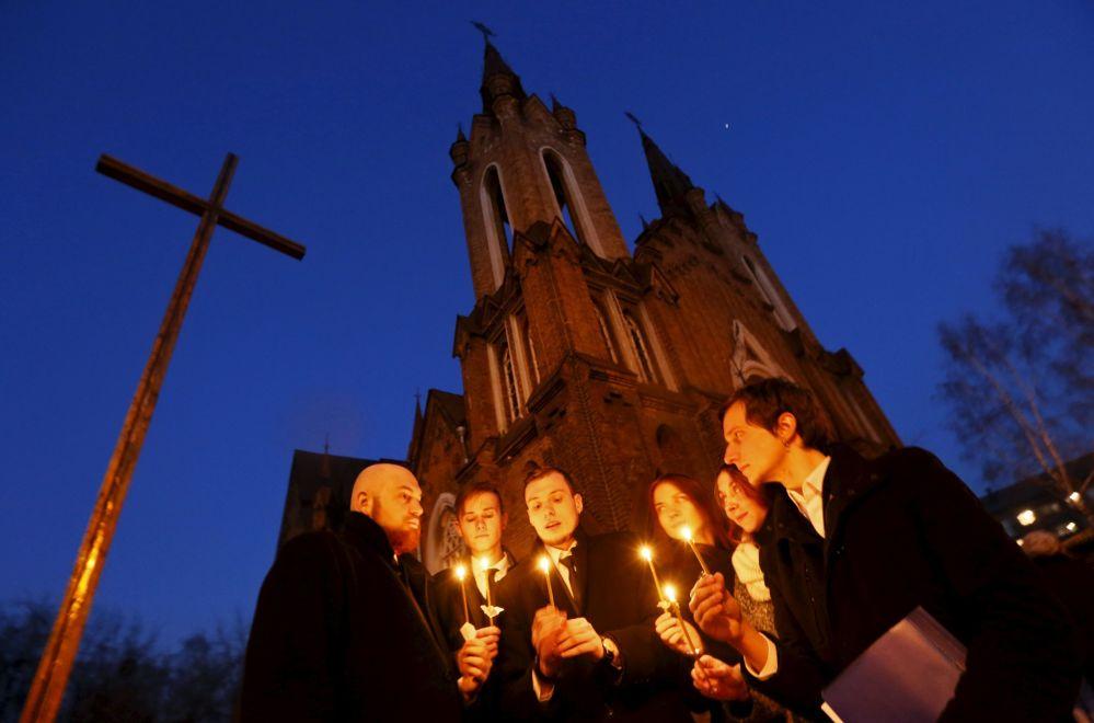 Krasnoyarsk, celebrazione della pasqua cattolica.