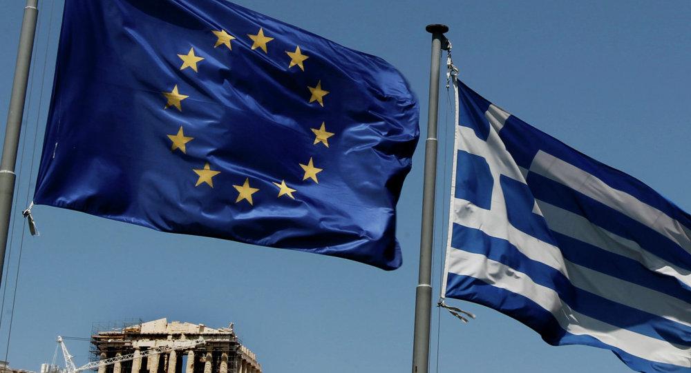 Bandiere di Grecia e UE