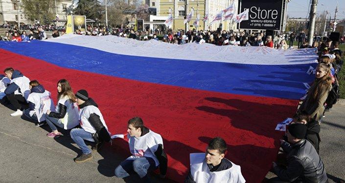 Simferopoli, manifestazione in favore della riunificazione della Crimea con la Russia