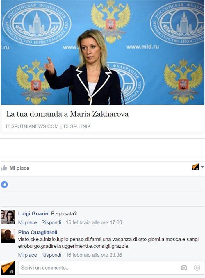 Le domande dei lettori di Sputnik Italia selezionate da Maria Zakharova