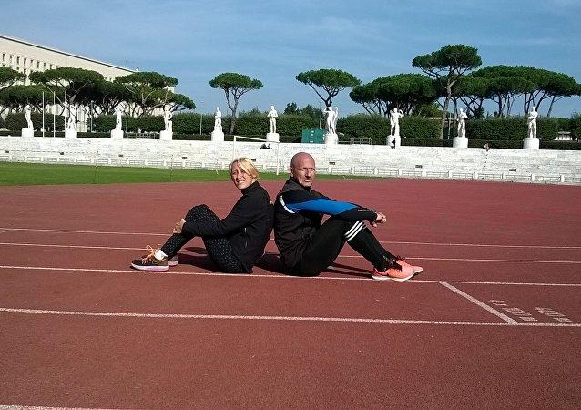 Oxana Corso e il suo allenatore