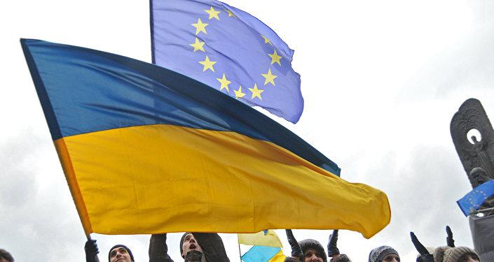 Bandiera dell'Ucraina e dell'UE