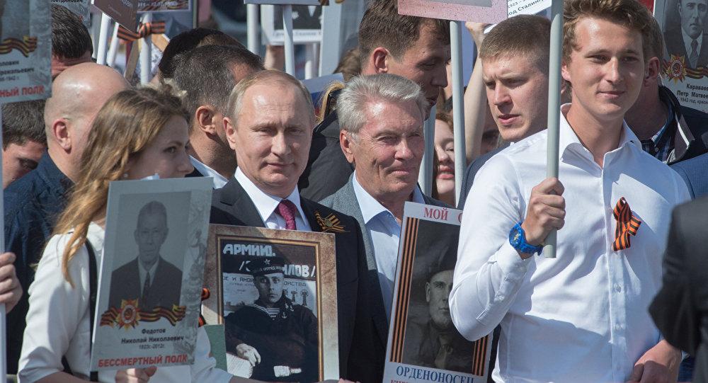 Il presidente Putin alla manifestazione del Reggimento degli Immortali