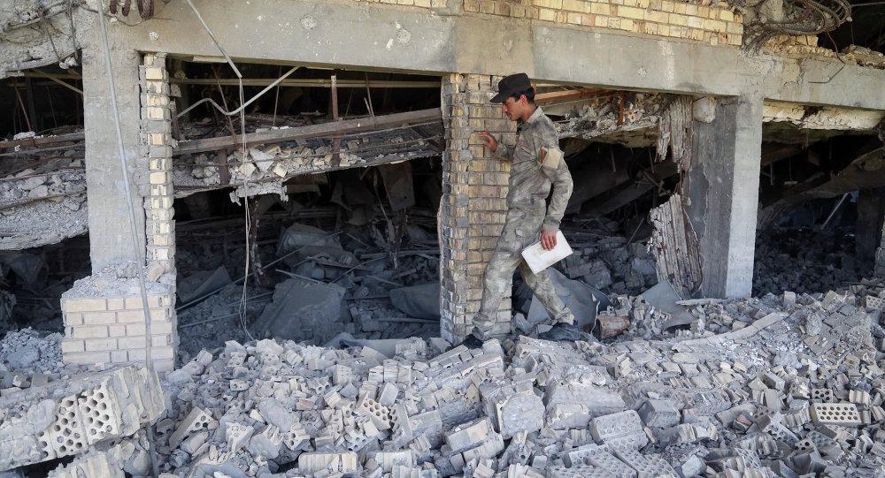 La tomb a distrutta di Saddam Hussein a Tikrit